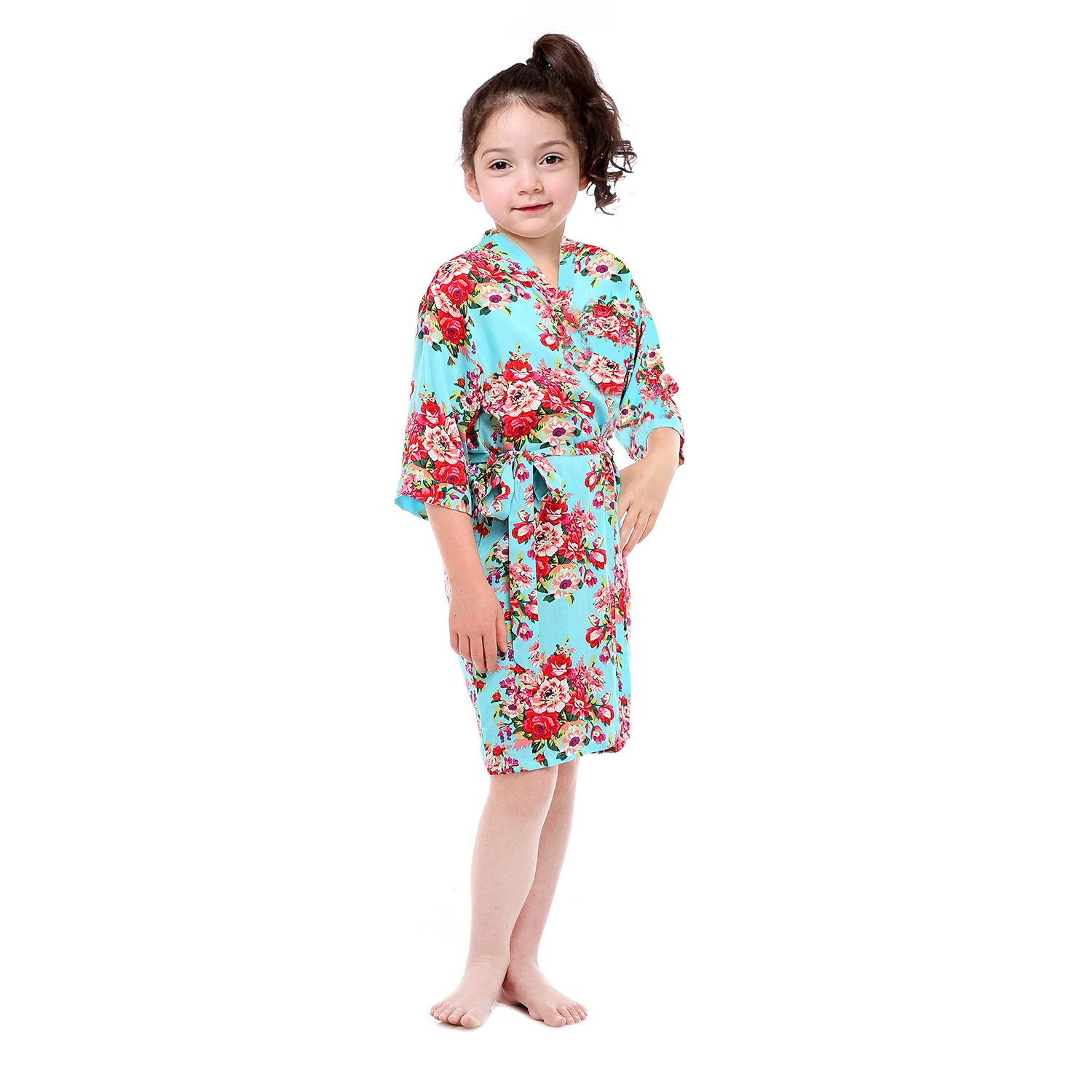 Girl's Cotton Floral Kimono Flower Girl Getting Ready Robe for Wedding (Light Blue,4)
