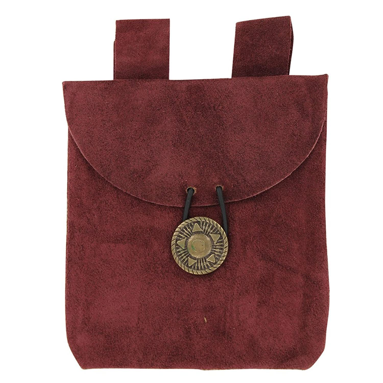 Petite Medieval Wine Red Suede Leather Belt Pouch