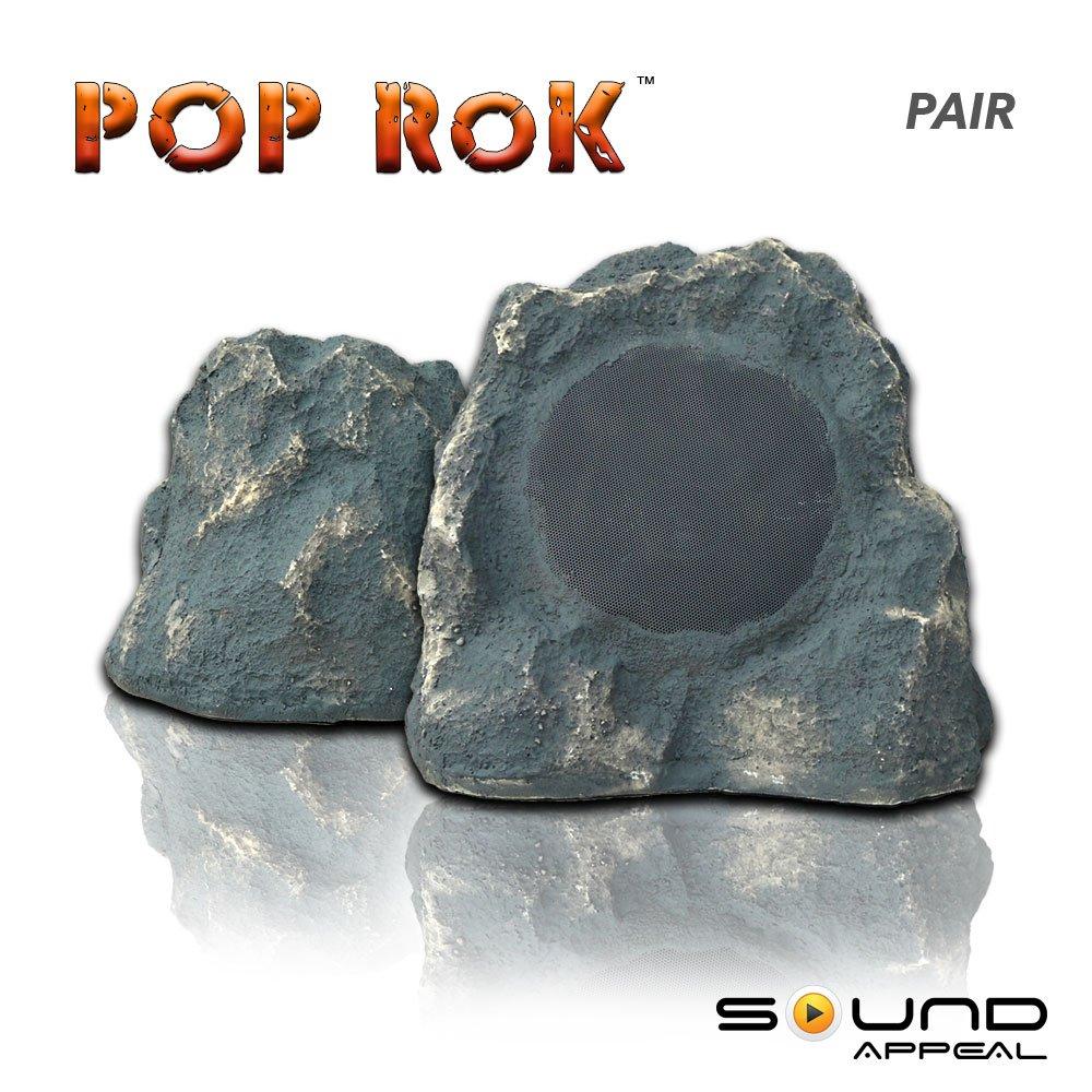 Outdoor Rock Speakers Grey Slate 8.0'' - POP RoK by Sound Appeal (pair)