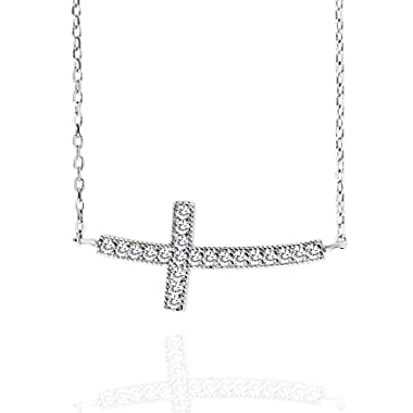 """Spoil Cupid Rhodium Plated Sterling Silver Cubic Zirconia Curved Sideways Cross Chain Necklace, 18"""""""