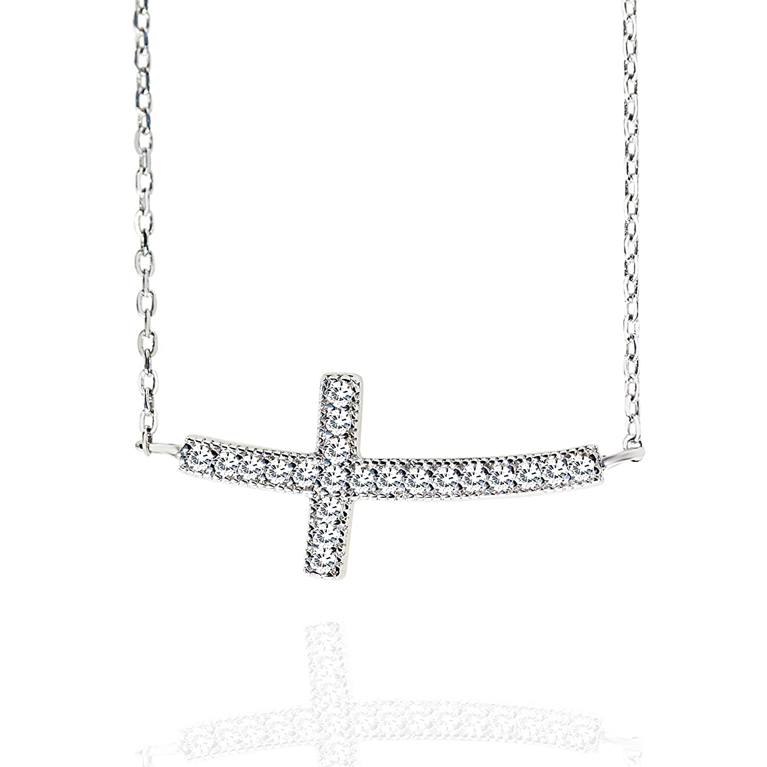 "Spoil Cupid Rhodium Plated Sterling Silver Cubic Zirconia Curved Sideways Cross Chain Necklace, 18"" 18"" Urban Lemon Inc FN00026-W"