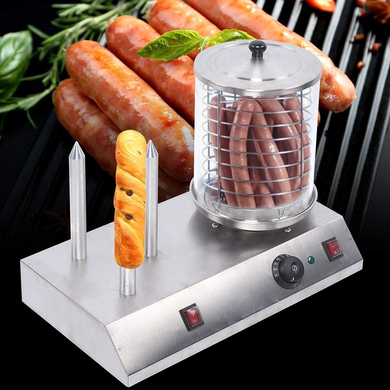 Hot Dog and Bun Toaster, Buns Machine Roller Cooker, Hot Dog + Bread Maker 110V Works for Western restaurant equipment, casual fast food equipment, tea restaurant