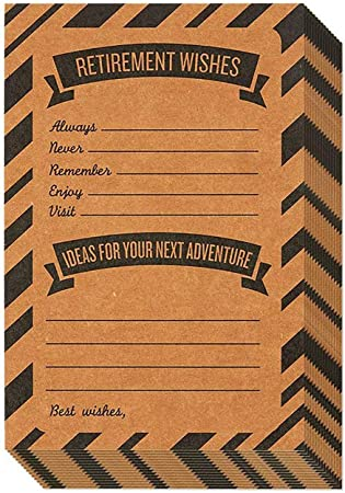 Retirement Card – 50-Pack Happy Retirement Cards Bulk, Retirement Well Wish and Advice Cards, Includes Envelopes, Perfect for Retirement Parties, 4 x 6 Inches, Kraft
