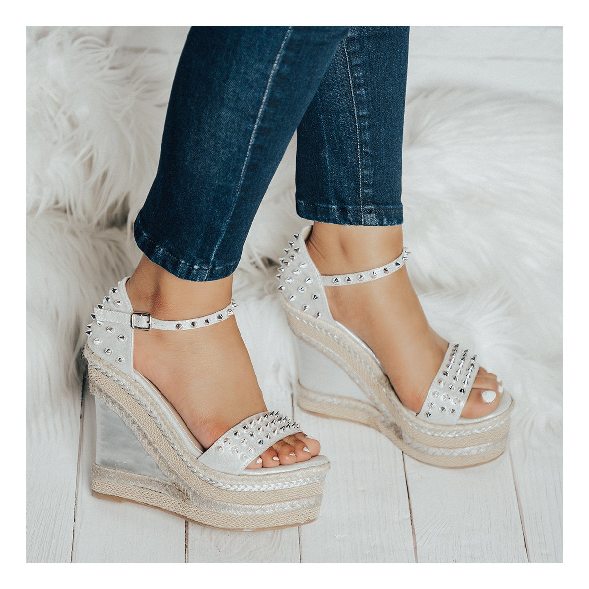 Women's Wedge Platform High Heels Sandal Rivet Ankle Strap Buckle Open Toe Sandals Weave Sole B07CYVQVRG 8.5 M US|Silver
