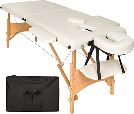 TecTake Camilla de masaje mesa de masaje banco 2 zonas plegable + ...