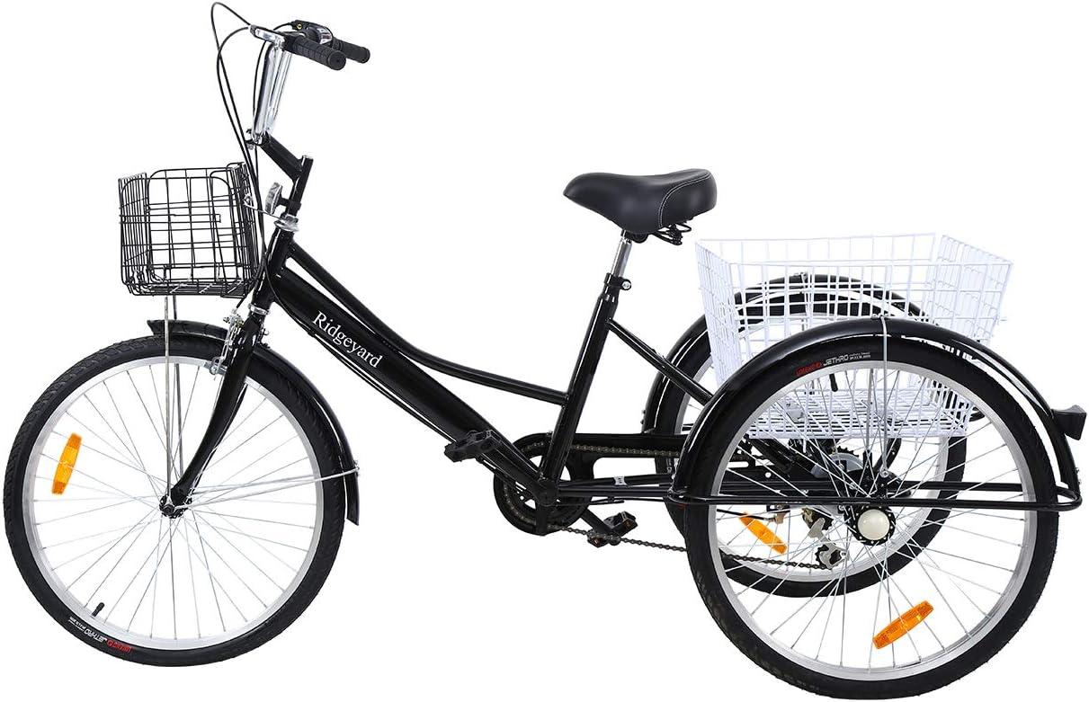 MuGuang Triciclo Adulto 24 Pulgada 6 Velocidades Bicicleta 3 ...