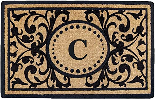 Nedia Home Heavy Duty Heritage Coco Mat, Monogrammed C, 18 x 30