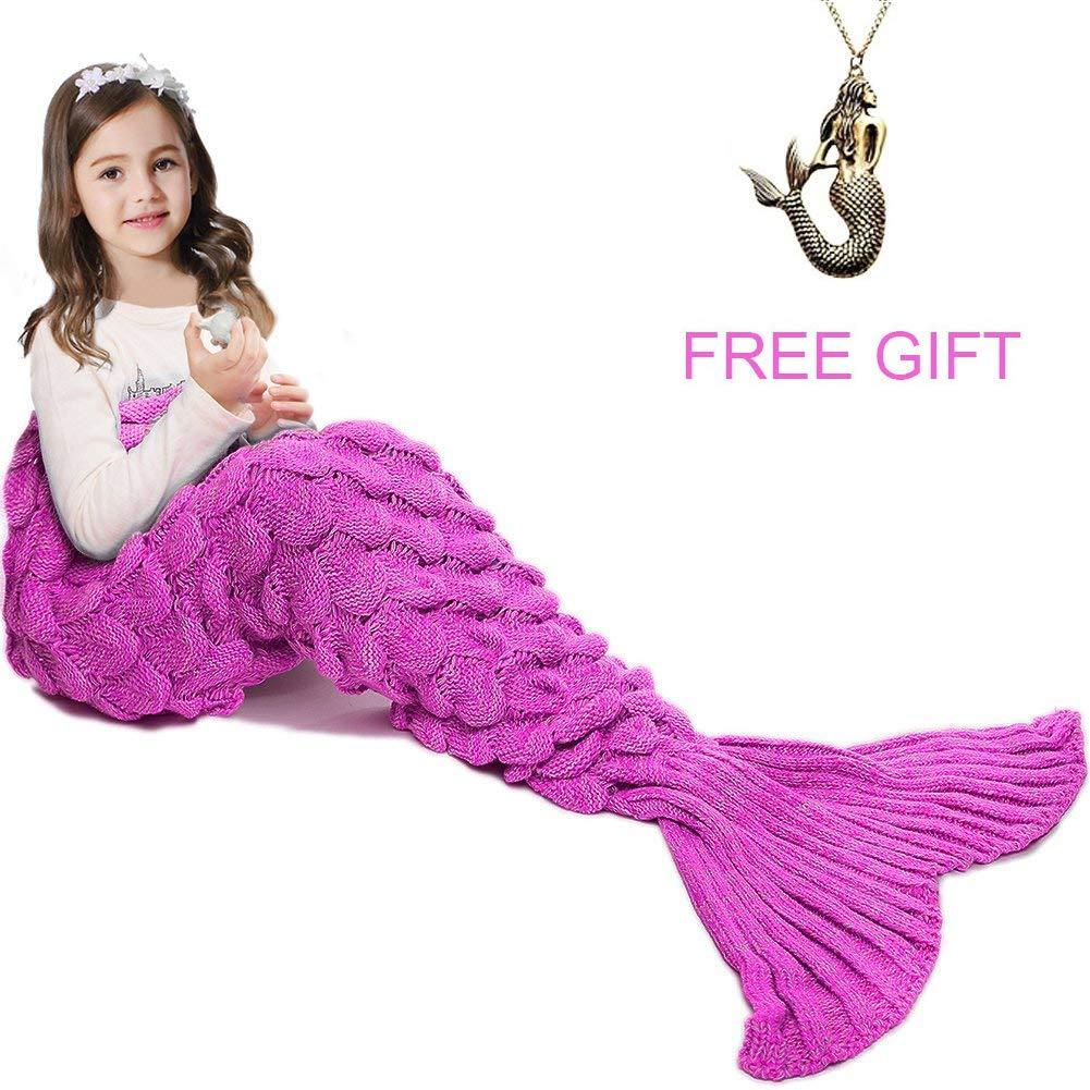 JR.WHITE Mermaid Tail Blanket for Kids, Hand Crochet Snuggle Mermaid,All Seasons Seatail Sleeping Bag Blanket (Pink) by JR.WHITE