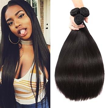 Karbalu Hair 10a Brazilian Virgin Hair Straight 3 Bundles Unprocessed Brazilian Straight Hair Bundles Human Straight Hair Natural Black 12 14 16