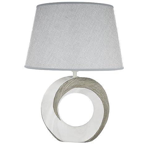 Lámpara de mesa de cerámica gris blanco lámpara de mesa de ...