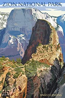 product image for Zion National Park, Utah - Angels Landing (16x24 Giclee Gallery Print, Wall Decor Travel Poster)