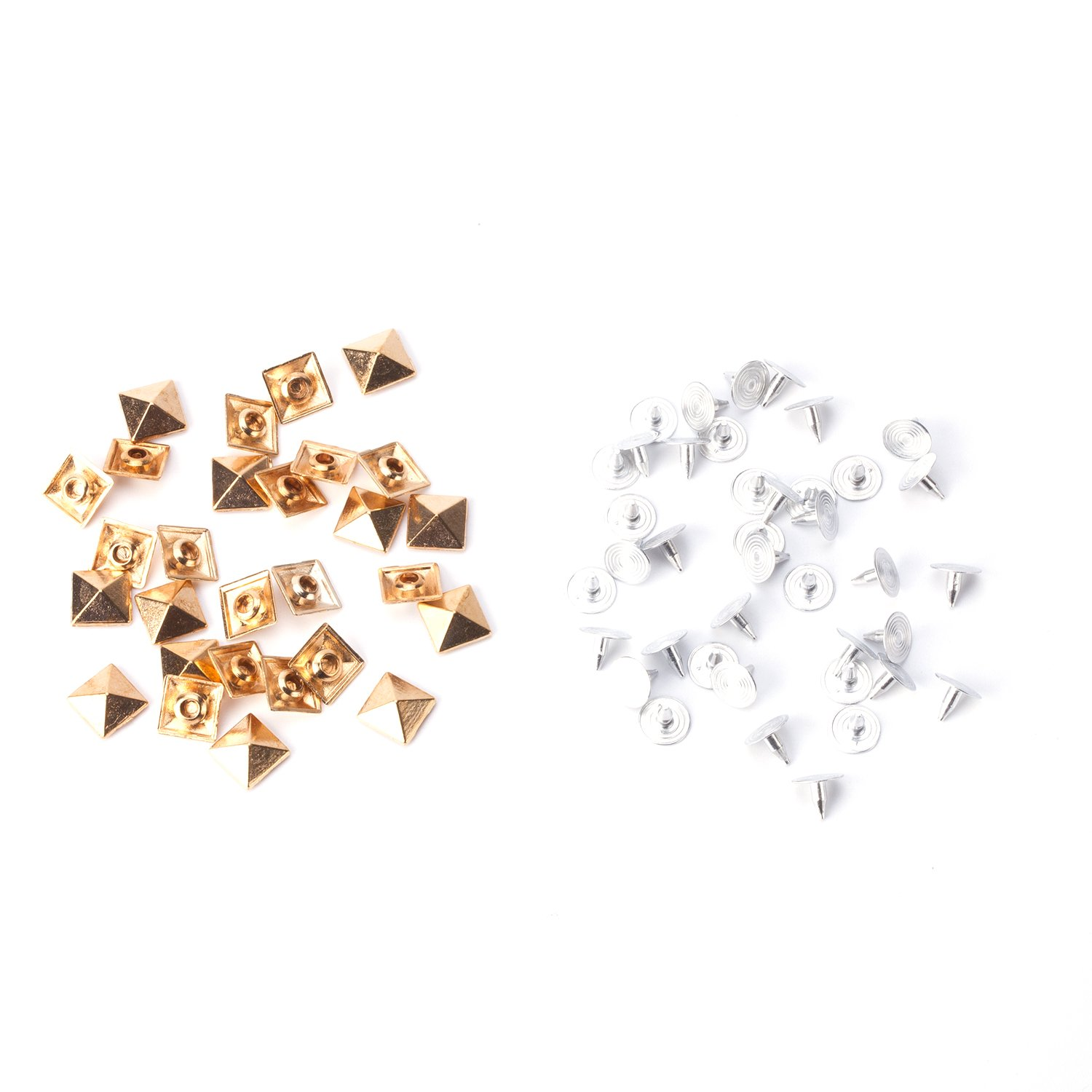 100 x 7mm Gold Square Pyramid Punk Spike Studs Rivets for Leather Clothing Jeans Bags Arts and Craft Embellishment by Trimming Shop