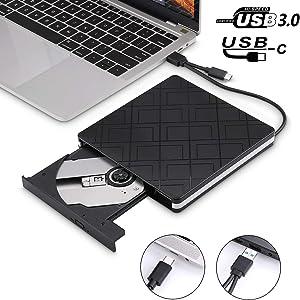 External DVD CD Drive, USB 3.0 Portable CD DVD +/- Slim Portable RW Drive Burner Writer ROM Rewriter, High Speed Data Transfer for Desktop/Laptop/ Black