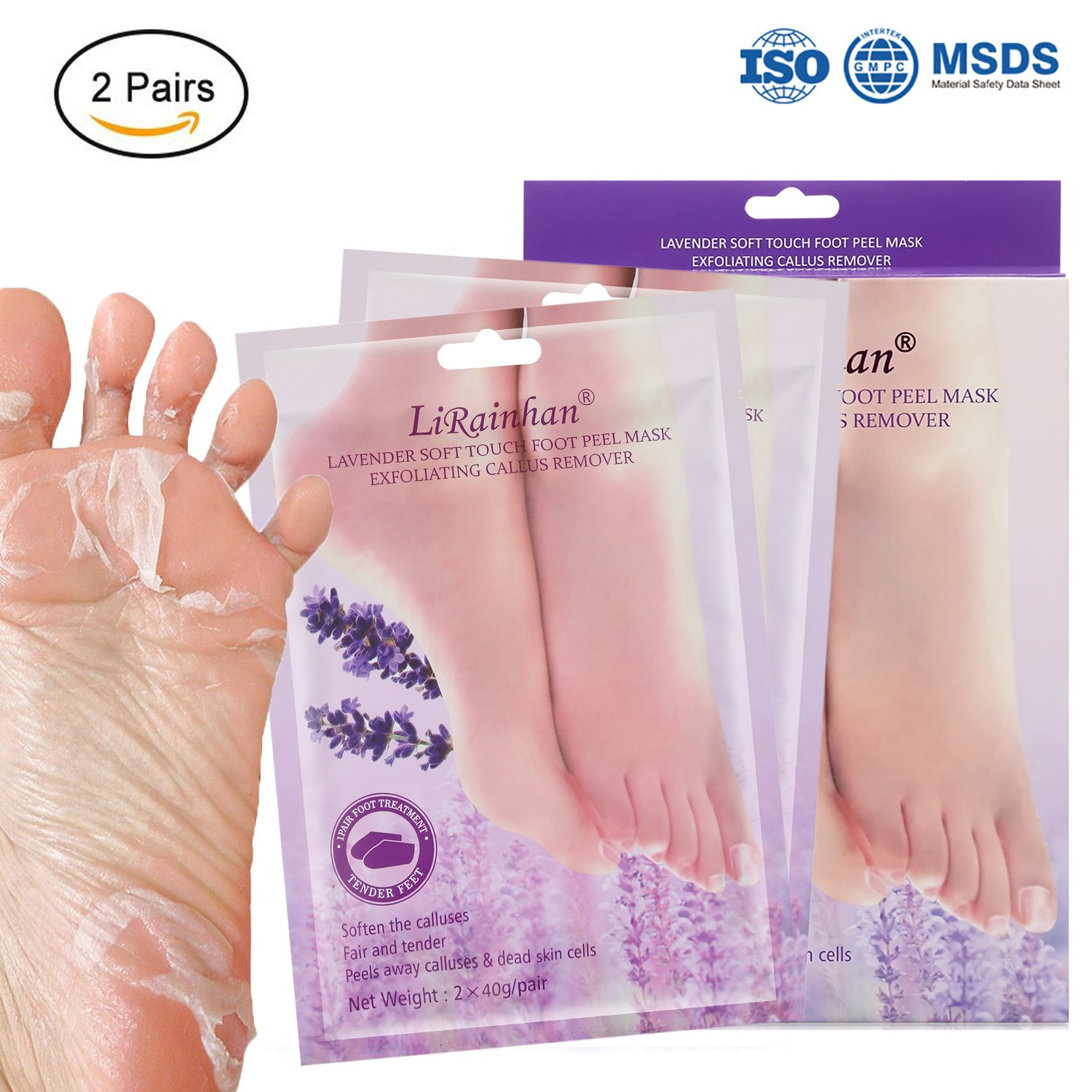 2 Pairs Exfoliant Foot Peel Mask for Soft Feet in 3-7 days, Exfoliating Booties for Peeling Off Calluses & Dead Skin, Baby Your Feet, for Men & Women - Lavender