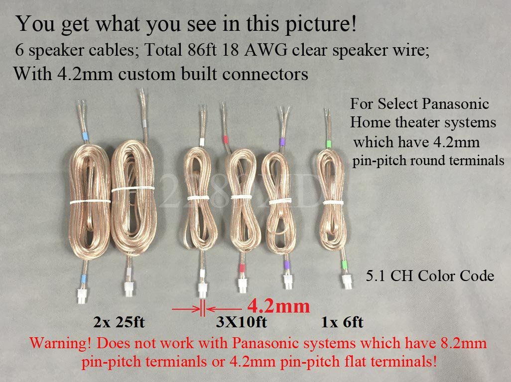 amazon com: 6 speaker wires/cables/cords for select panasonic home theater  system or sound bar
