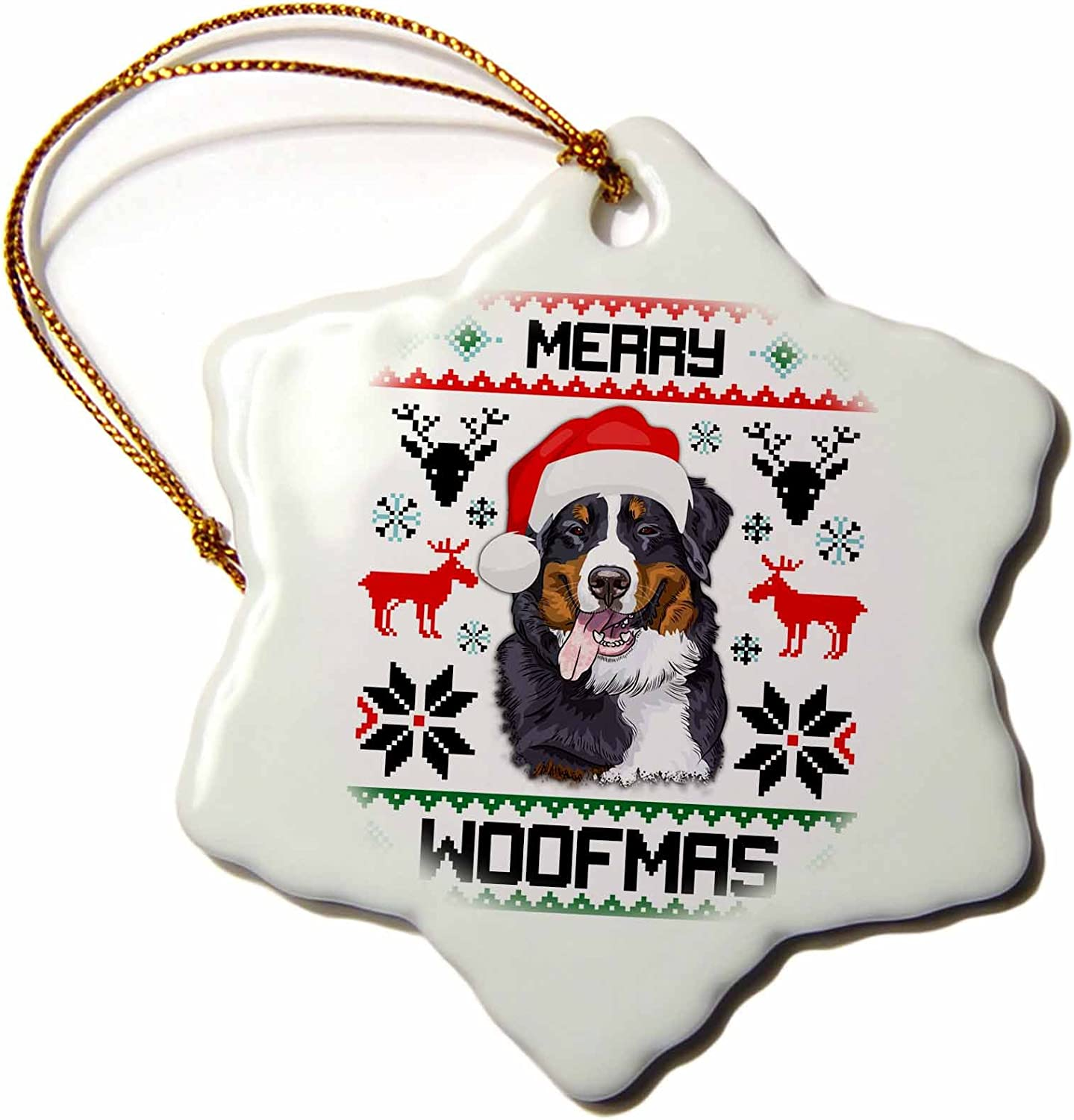 3 inch Snowflake Porcelain Ornament Merry Woofmas Bernese Mountain Dog Gift orn/_272797/_1 Illustrations 3dRose Carsten Reisinger