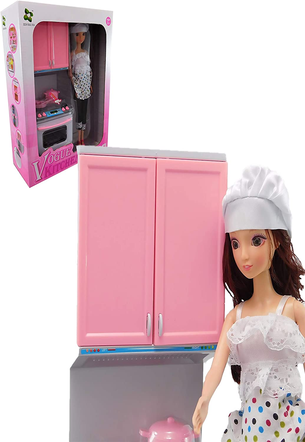 ALLKINDATHINGS Girls Toy Doll Kitchen Playset with 12-Inch Doll and Accessories