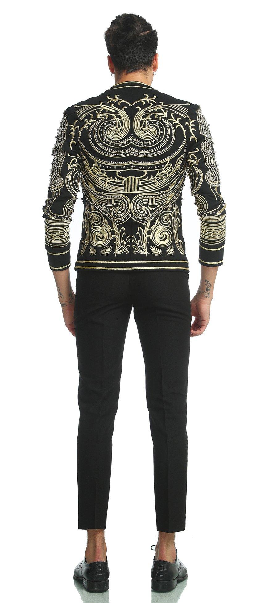 Pizoff Men's Luxury V-Neck Slim Fit Stylish Suit Blazer Jacket Long Sleeve Formal Dinner Dress AD001-02-L by Pizoff (Image #3)