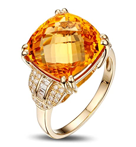 Epinki 18k Oro Anillos para Mujer Cuadrado Anillo de Diamante Anillos Mujer Oro con Blanco Amarillo