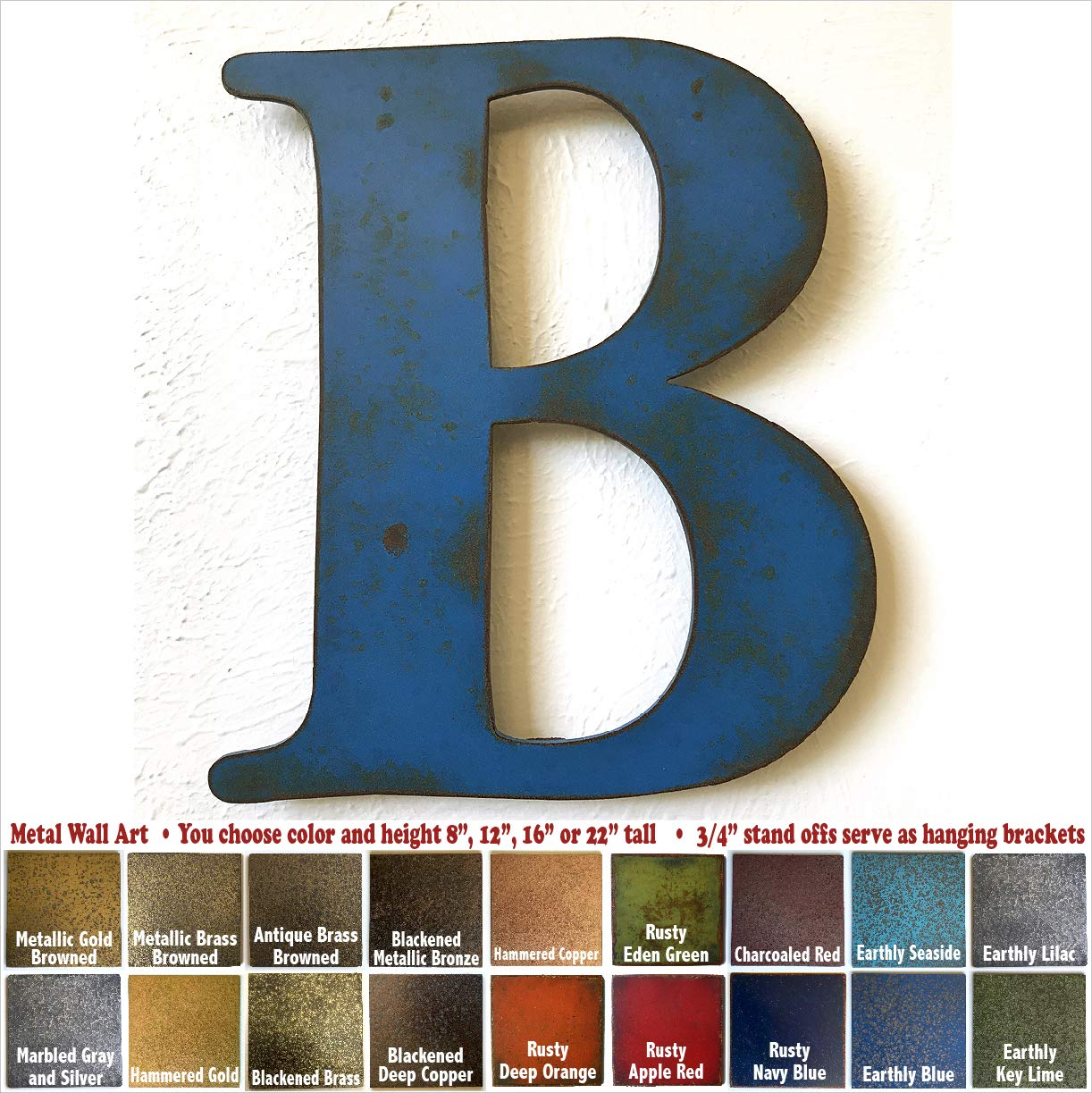 Metal Letter B - 8, 12, 16 or 22 inch tall - Handmade metal wall art - Choose your Patina Color, Size and Letter or Number Metal Letter B - 8 12