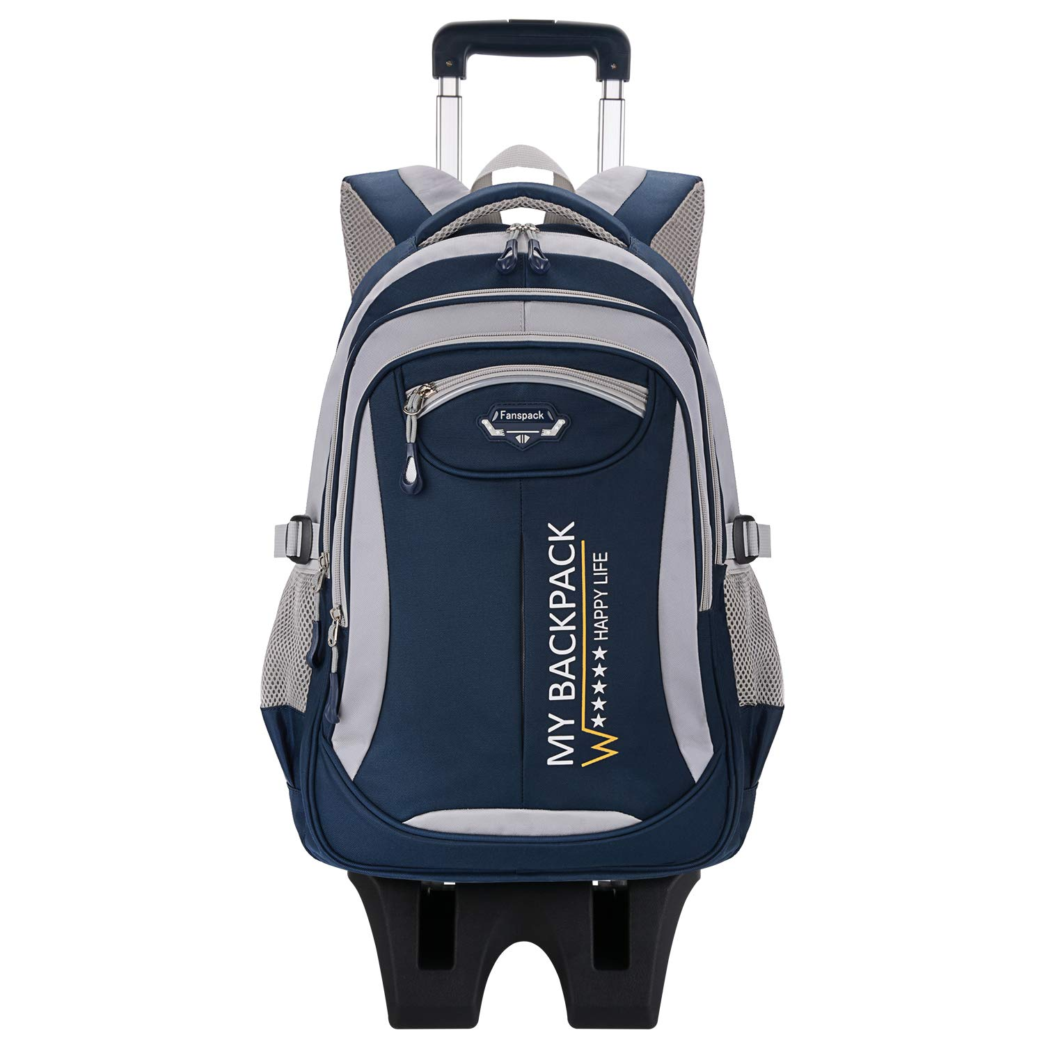 Rolling Backpack, Fanspack 2019 New Wheeled Backpack Trolley School Bags for Boys Backpack with 6 Wheels Kids Backpack by Fanspack