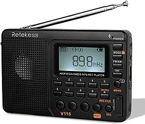 Retekess V115 Shortwave Radio, AM FM Radio Digital Tuner, Rechargeable Radio Support Recording, Portable MP3 Radio with Bass and TF Socket (Black)