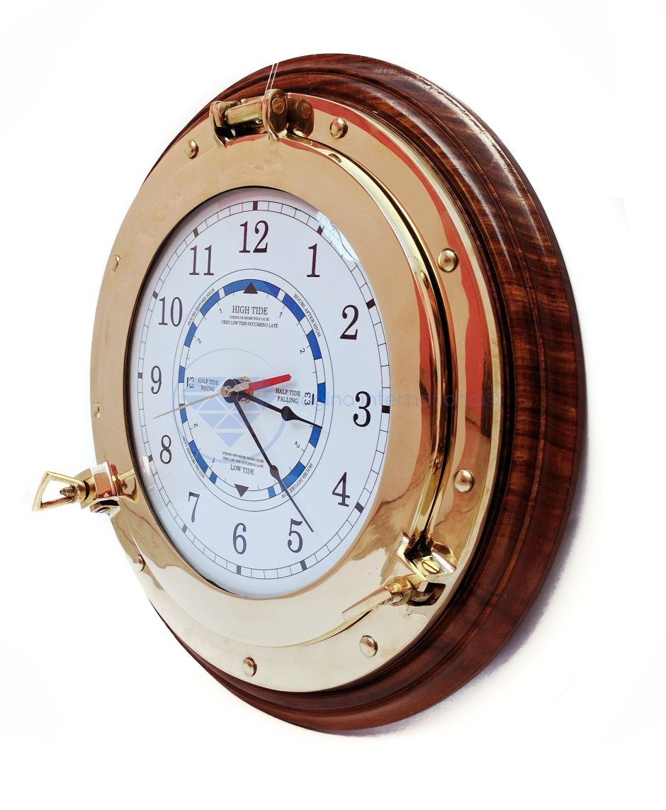 Nautical Time Tide Clock With Brass Porthole & Wooden Base - Captain Maritime Beach Home Decor Gift - Nagina International (16 Inches)