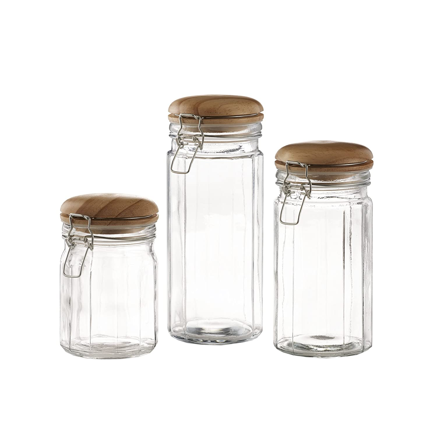 Style Setter 203202 Gb Glass Canister Set 3 Piece Clear