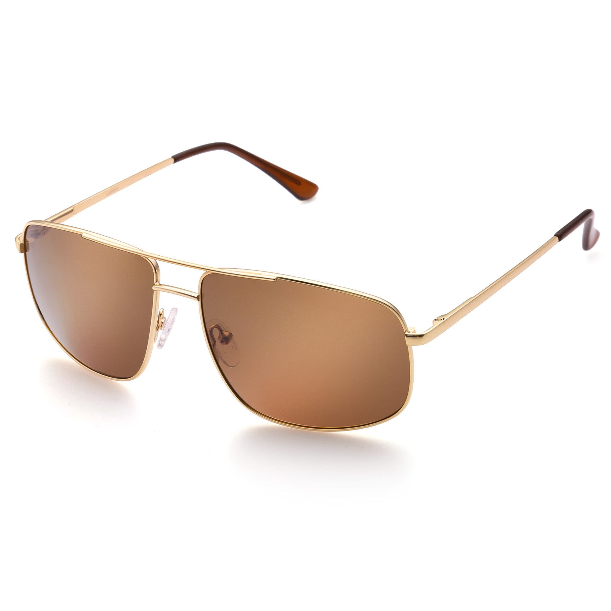 Polarized Rectangular Sunglasses for Men, Trendy Gold Metal Frame, Classic Brown Lens, UV Protection by LotFancy
