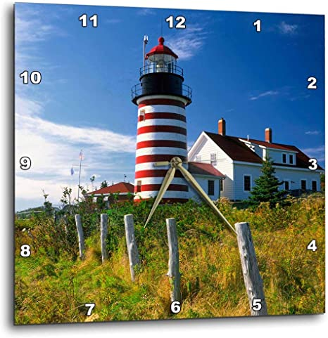 Amazon Com 3drose Dpp 90546 1 Maine Lubec West Quoddy Head Lighthouse Us20 Bja0007 Jaynes Gallery Wall Clock 10 By 10 Inch Home Kitchen