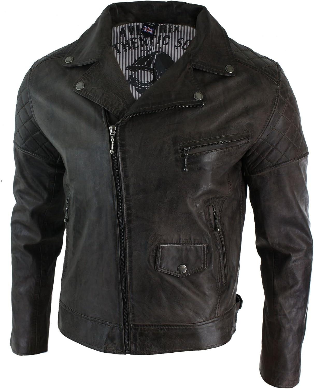 Aviatrix Mens Cross Zip Casual Real Leather Retro Vintage Biker Jacket Slim Fit Brown