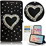 STENES Bling Wallet Phone Case Compatible with Samsung Galaxy A10e - Stylish - 3D Handmade Heart Design Leather Cover…