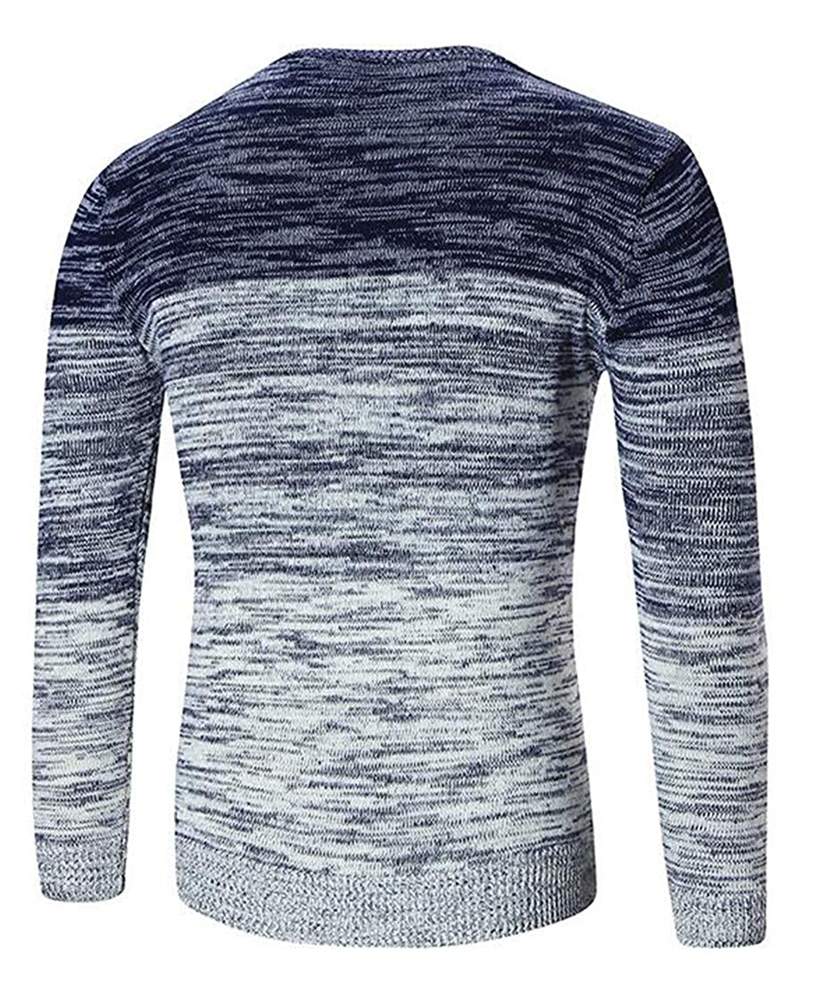 Cromoncent Mens Slim Fit Ombre Crew Neck Knits Top Pullover Jumper Sweaters