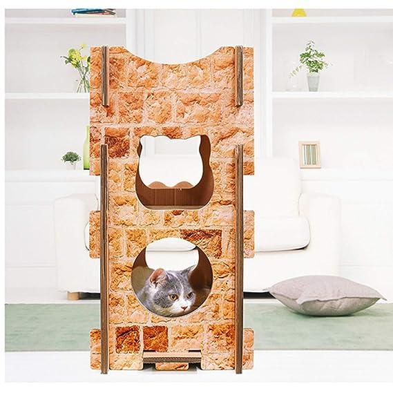 Casa De Gato Corrugado Muebles para Gatos Nido De Gato Bricolaje Tablero del Rasguño del Gato del Castillo Juguete De Garra De Gato 75X40X80cm: Amazon.es: ...