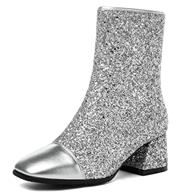 eb0f44f3b398 AnMengXinLing Fashion Ankle Boots Women Glitter Leather Winter Booties  Block Heel Square Toe Wedding Party Dress