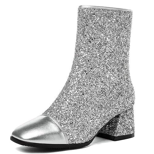 64461ec6e7b AnMengXinLing Fashion Ankle Boots Women Glitter Leather Winter Booties  Block Heel Square Toe Wedding Party Dress