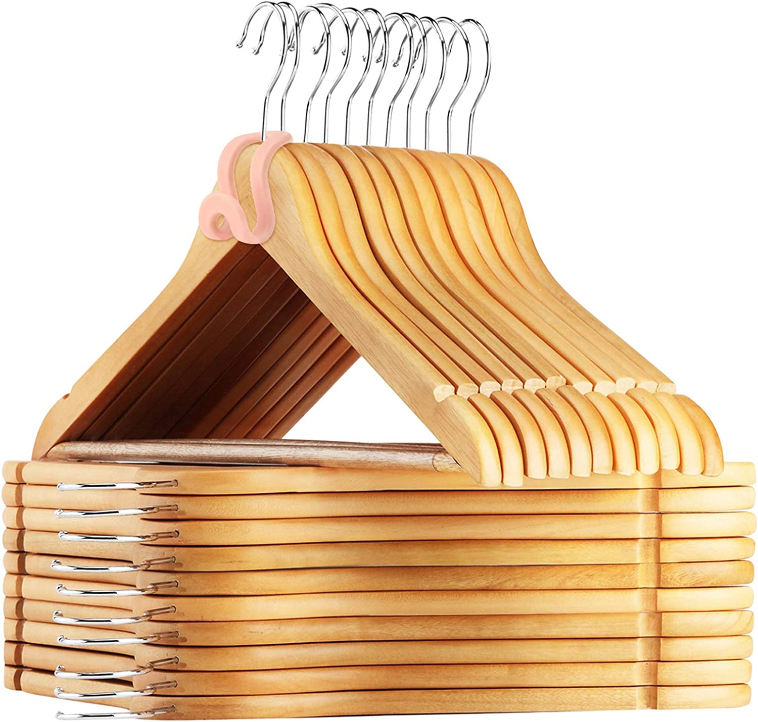 AMKUFO 24 Pack Wooden Clothes Hangers Wooden Suit Hangers with Non Slip Groove, 17.5 Inch Solid Wood with 360° Swivel Hook, Natural Coat Hangers with 24 Free Connector Hooks for Space Saving