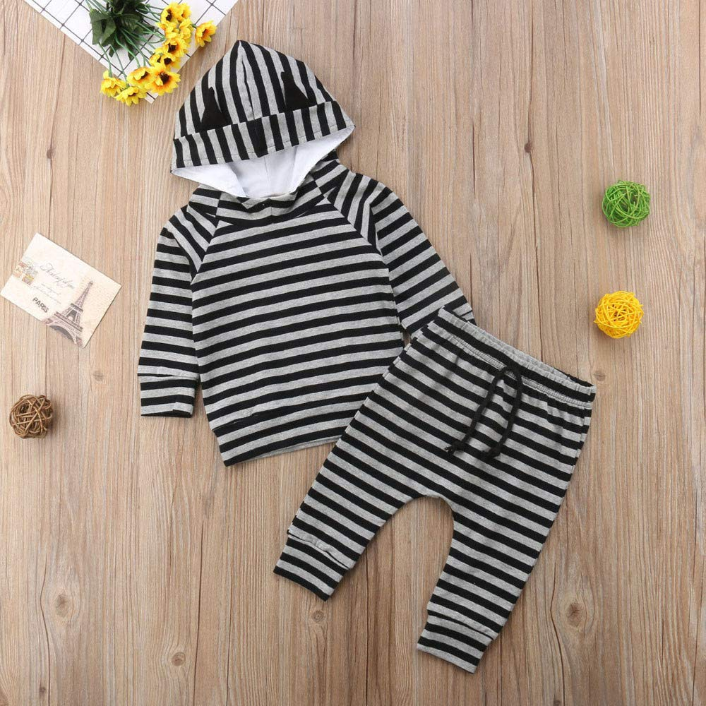 Baby Infant Boys Girl Striped Ear Hooded Tops Pullover Pants Outfits Set