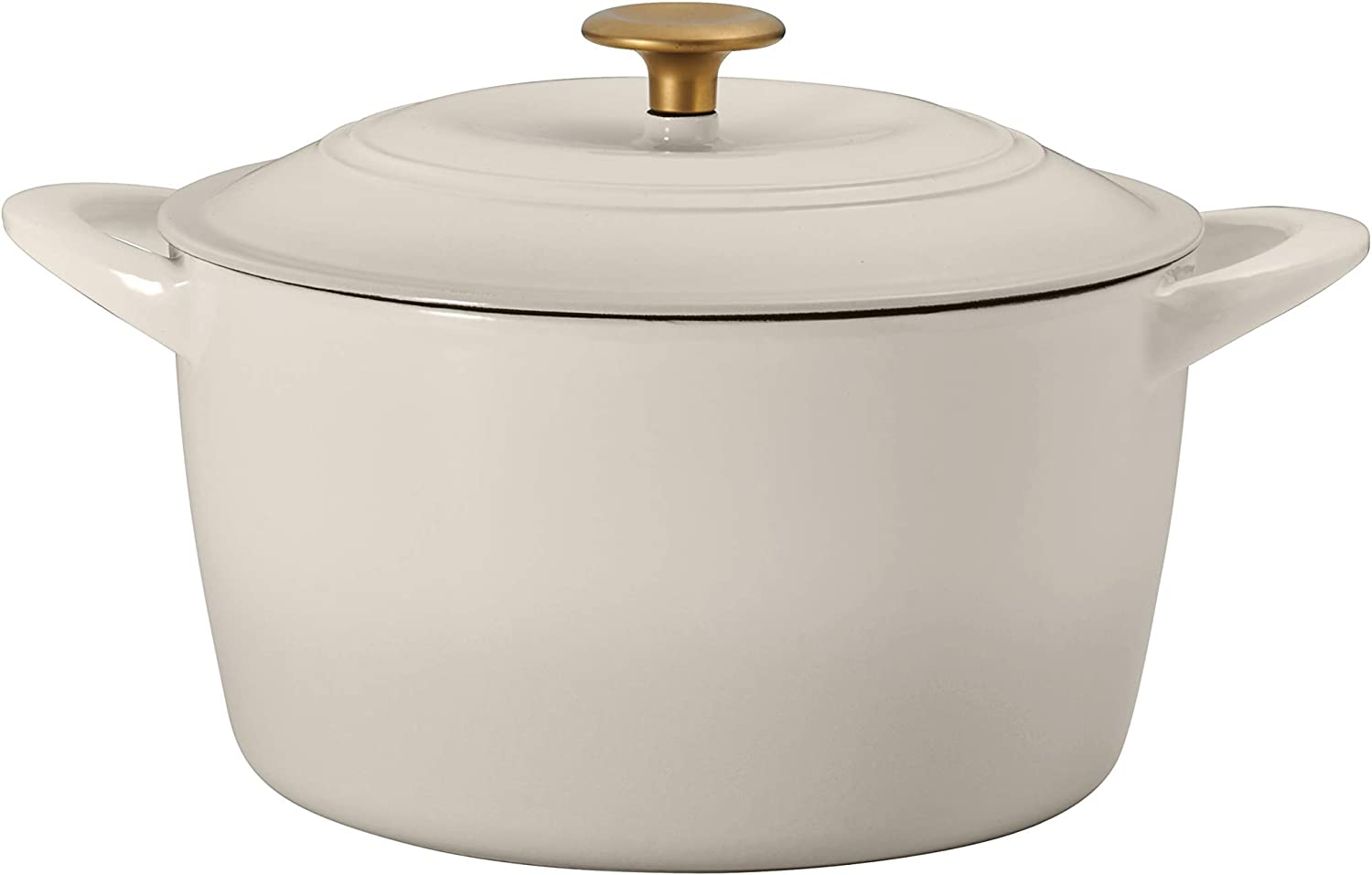 Tramontina 7 Qt Enameled Cast Iron Covered Tall Round Dutch Oven (Latte Gold Knob) - 80131/357DS