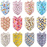 PAWCHIE Cute Style Dog Bandana 12 Pack - Soft and Breathable Dog Triangle Scarfs with Cooling Cute Patterns for for Pet Puppy