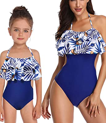 18f558e6c5 Mommy and Me One Piece Swimsuit Family Matching Swimwear High Waisted Mommy  Girl Monokini Bathing Suit