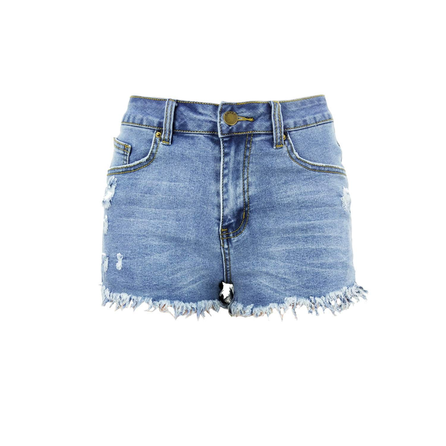 Sky bluee Vintage Ripped Hole Fringe Denim Shorts Jeans Women Casual Pocket Jeans Shorts