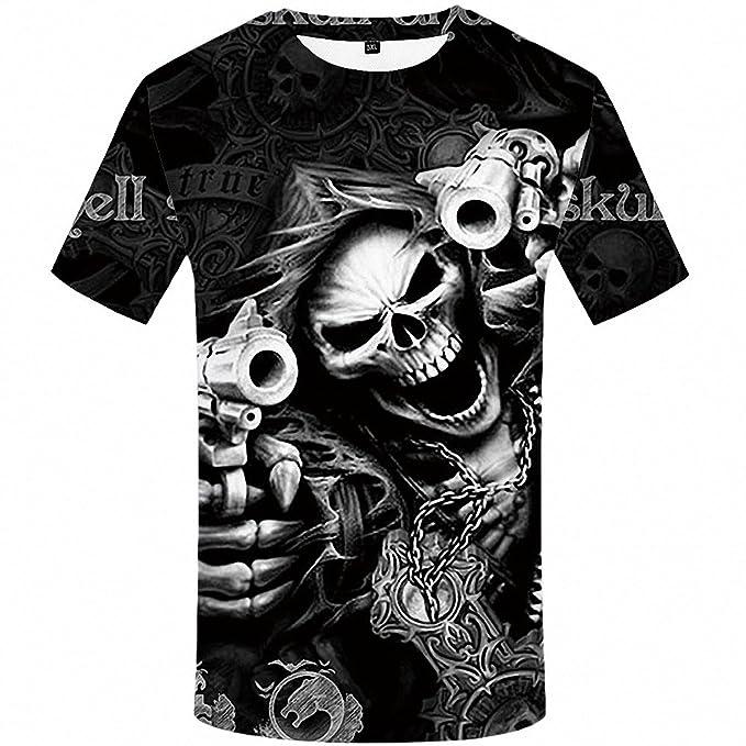 ffe6728f6d79 Amazon.com  Emlyn Adrian Skull T Shirt Skeleton T-Shirt Gun Tshirt Gothic  Shirts Punk Tee 3D t-Shirt Anime Male Styles  Clothing