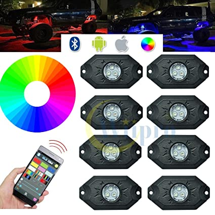 Amazon wiipro rgb rock lights with 8 pods led neon lighting bar wiipro rgb rock lights with 8 pods led neon lighting bar app bluetooth controller for car mozeypictures Gallery