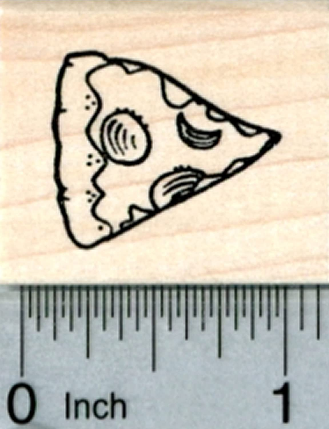 Pizza Rubber Stamp, Slice, Small Size, Party Food Series