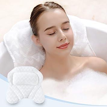 cabeza jacuzzi y spa en casa suave con 2 ventosas cuello almohada de apoyo para ba/ñera de hidromasaje Almohada de ba/ñera de hidromasaje