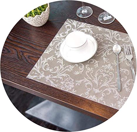 4 Pcs Lot European Placemat Dining Tables Mats Bar Mat Waterproof Kitchen Accessories Dining Table Mat Bowl Pad Table Decoration Light Grey Home Kitchen