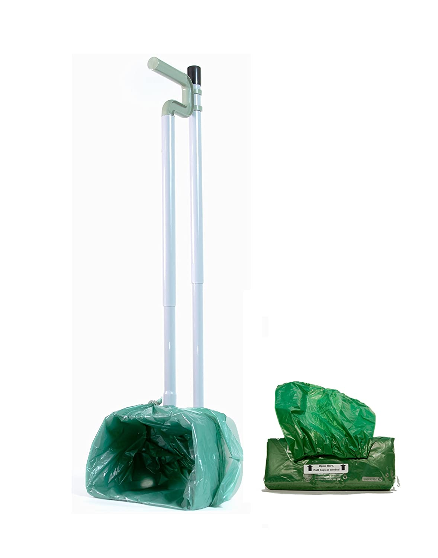 Bag Scooper Adjustable Pooper Scooper and Bag Refill Pack (50 Ct) Combo