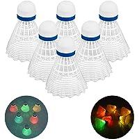 Rhino Valley LED Badminton Shuttlecocks, [6 Pack] Dark Night Glow Birdies Lighting for Outdoor Indoor Sport Activities…