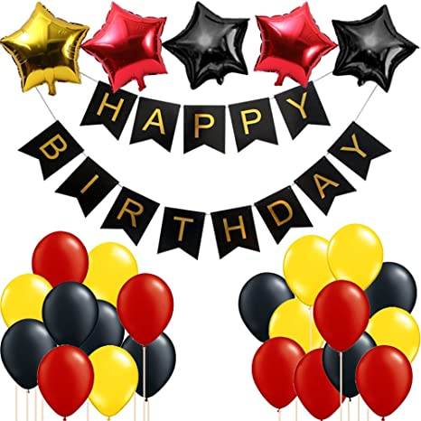 Mickey Mouse Birthday Party Supplies/Red Black Yellow Party Decorations,  Happy Birthday Banner Party Balloons Kit for Mickey Mouse Birthday